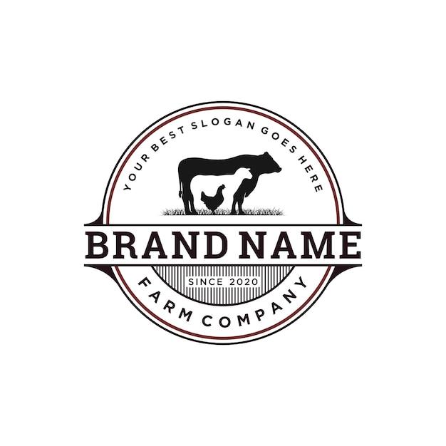 Diseño de logotipo de ganado vintage Vector Premium