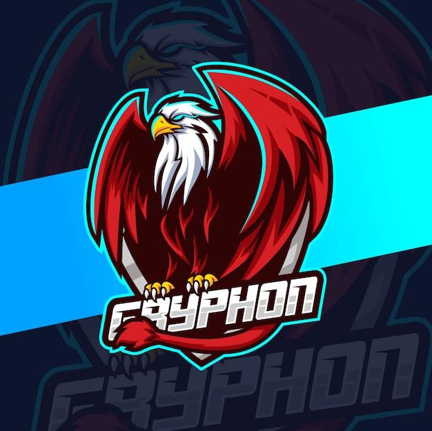 Diseño de logotipo de gryphon mascot esport Vector Premium