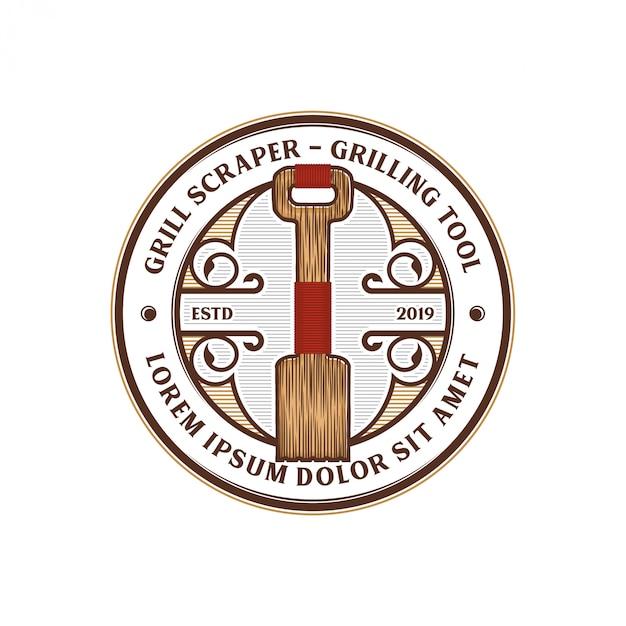 Diseño de logotipo de herramienta de barbacoa de raspador Vector Premium