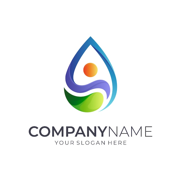 Diseño de logotipo humano + gota de agua Vector Premium