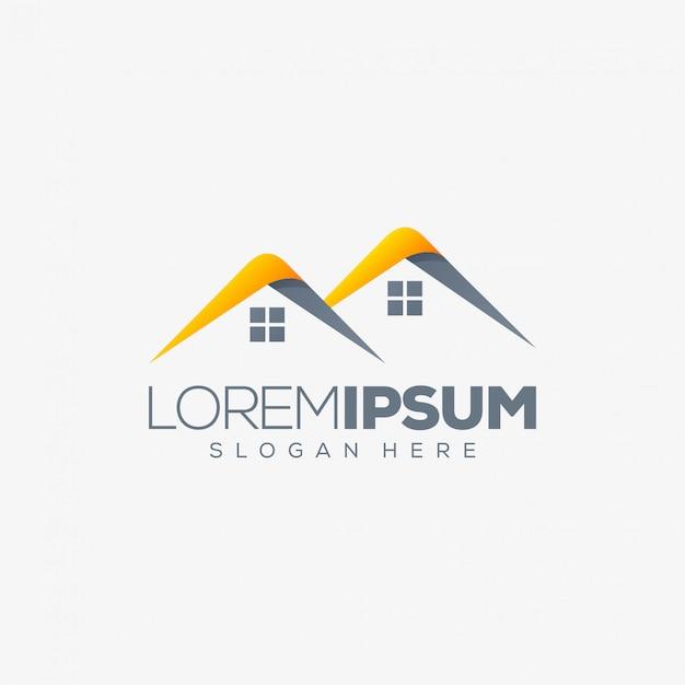 Diseño de logotipo inmobiliario Vector Premium