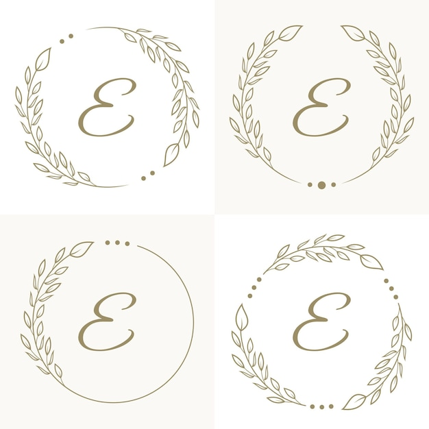 Diseño de logotipo de letra e de lujo con plantilla de fondo de marco floral Vector Premium