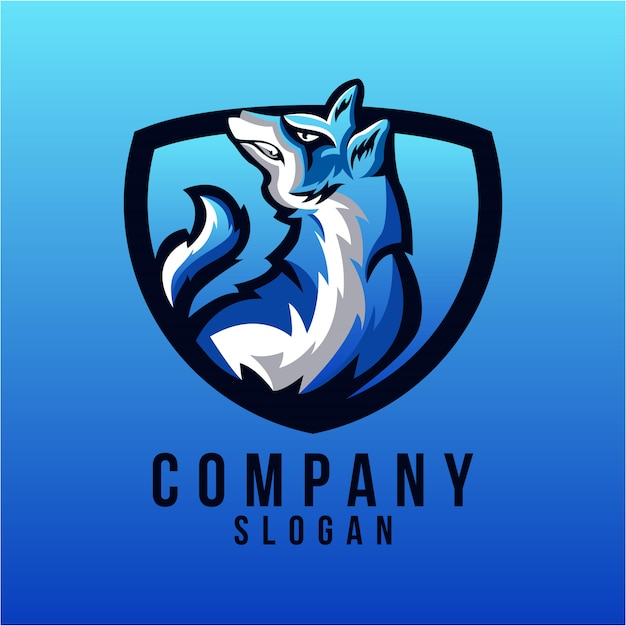 Diseño de logotipo de lobo Vector Premium