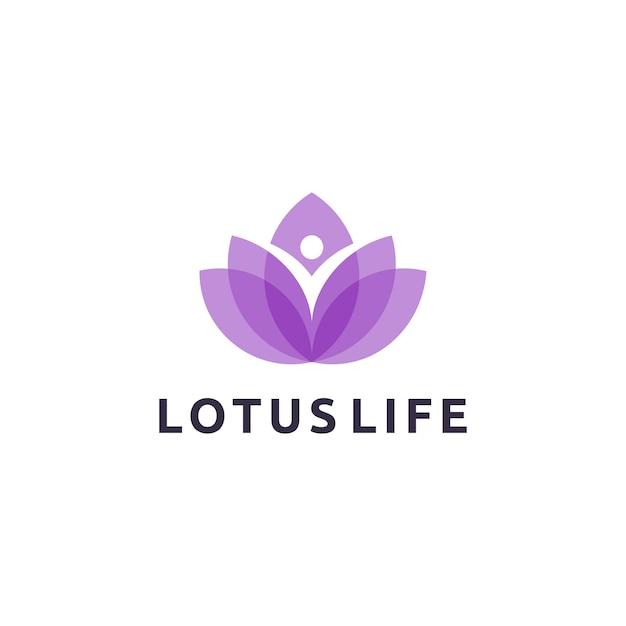 Diseño de logotipo de lotus life Vector Premium