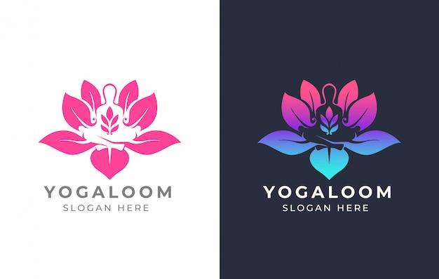 Diseño de logotipo de lotus yoga Vector Premium