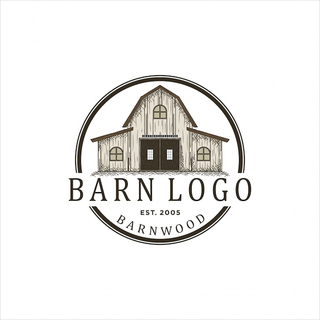 Diseño de logotipo para madera de granero. Vector Premium