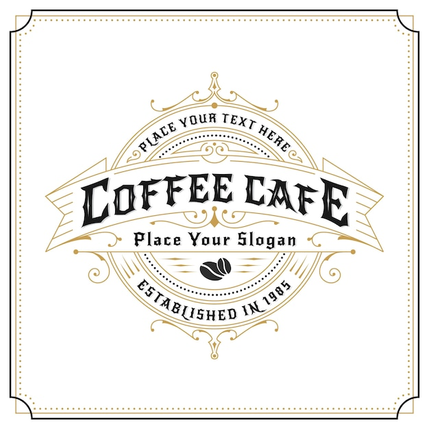 Diseño del logotipo del marco del vintage para las etiquetas, la bandera, la etiqueta engomada y el otro diseño. adecuado para café, restaurante, whisky, vino, cerveza y productos premium vector gratuito