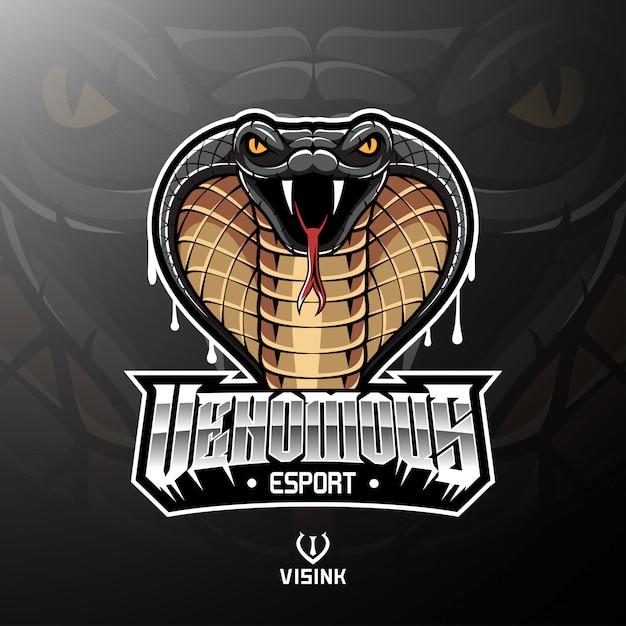 Diseño de logotipo de la mascota de la cabeza de cobra Vector Premium