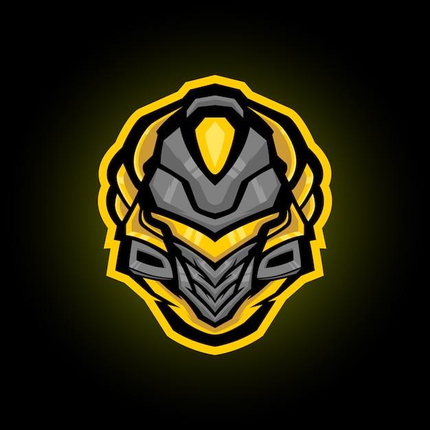 Diseño del logotipo de la mascota del casco espartano mecha Vector Premium
