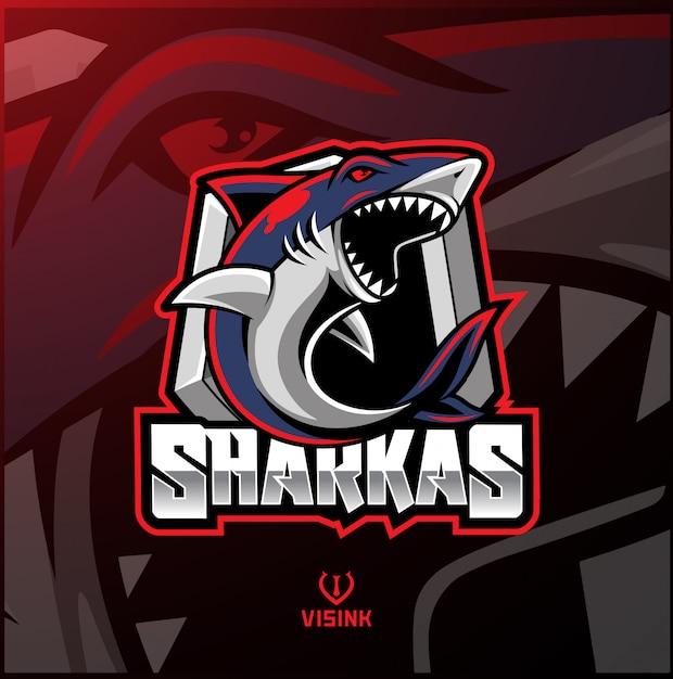 Diseño de logotipo de la mascota del deporte del tiburón. Vector Premium