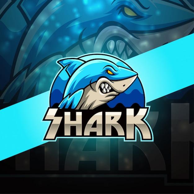 Diseño de logotipo de la mascota shark esport Vector Premium