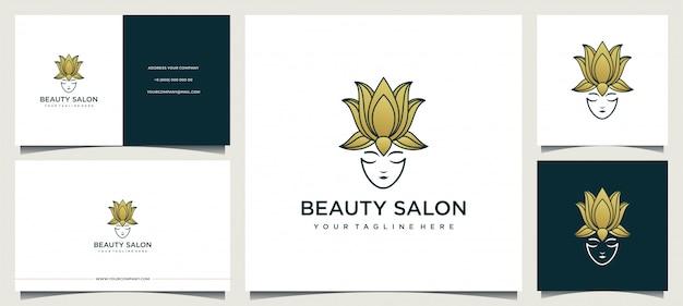 Diseño de logotipo de mujer con elegante tarjeta de visita. Vector Premium
