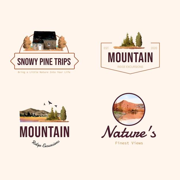 Diseño de logotipo con paisaje en otoño vector gratuito