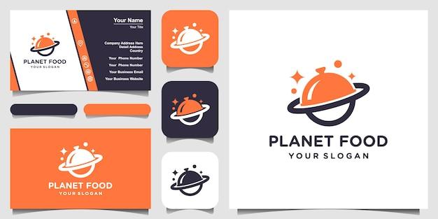 Diseño de logotipo de planeta de alimentos abstractos y tarjeta de visita. Vector Premium