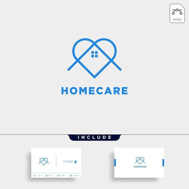 Diseño de logotipo y plantilla de tarjeta de visita de home love care Vector Premium