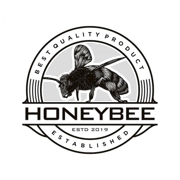 Diseño de logotipo para productos de miel o granjas de abejas. Vector Premium