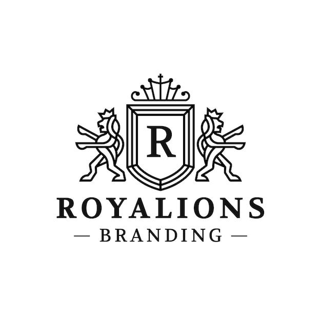Diseño de logotipo de royal lions crest Vector Premium