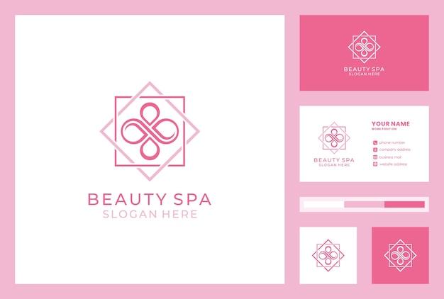 Diseño de logotipo de salón de belleza estilo infinito. icono de la tienda de cosméticos. identidad de marca de spa con plantilla de tarjeta de visita. Vector Premium
