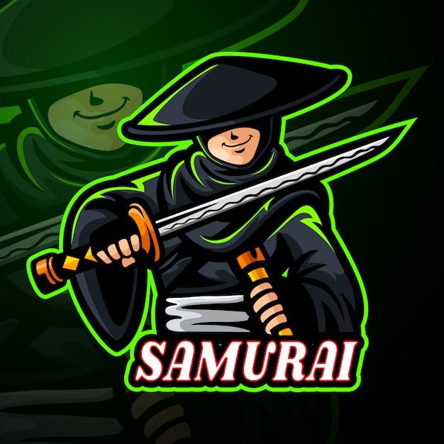 Diseño de logotipo de samurai mascota esport Vector Premium