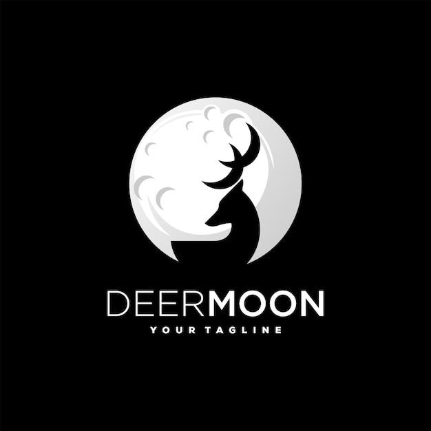 Diseño de logotipo de silueta de ciervo luna Vector Premium