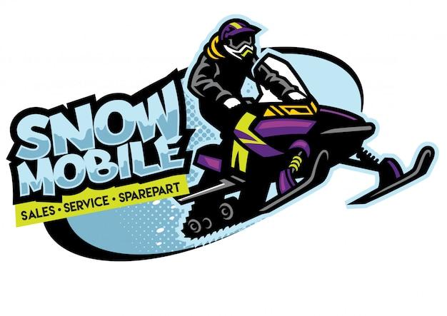 Diseño de logotipo de la tienda de motos de nieve Vector Premium