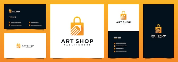 Diseño de logotipo de tienda online y tarjeta de visita, con concepto de lápiz y bolso Vector Premium