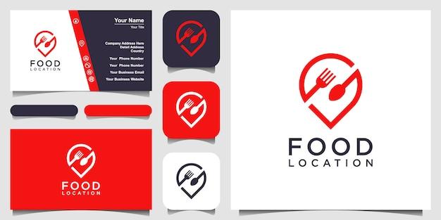 Diseño de logotipo de ubicación de alimentos, con el concepto de un icono de pin combinado con un tenedor y una cuchara. diseño de tarjeta de visita Vector Premium