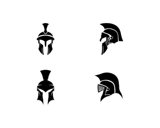 Diseño de logotipo y vector espartano casco y cabeza. Vector Premium