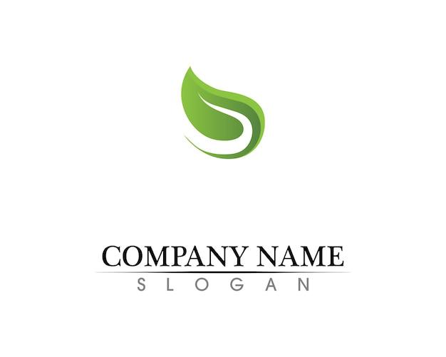 Diseño del logotipo del vector de la hoja del árbol, concepto respetuoso del medio ambiente. Vector Premium