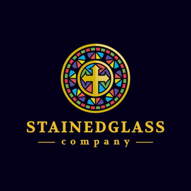 Diseño de logotipo de vidriera dorada Vector Premium