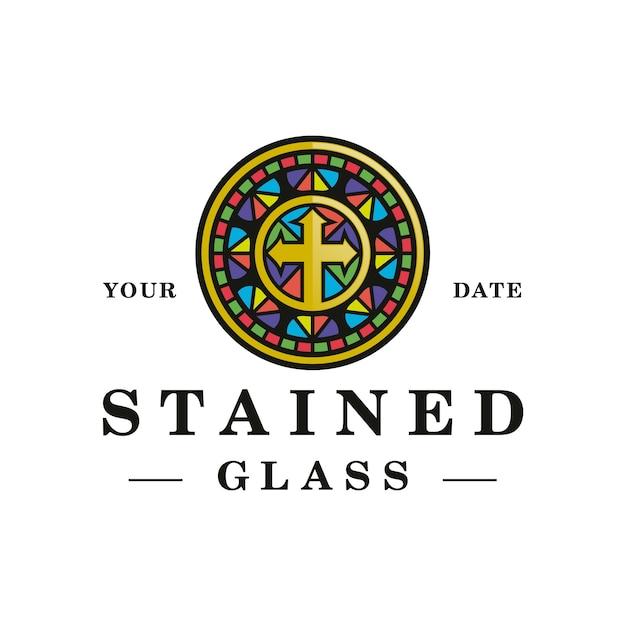 Diseño de logotipo de vidrieras coloridas Vector Premium