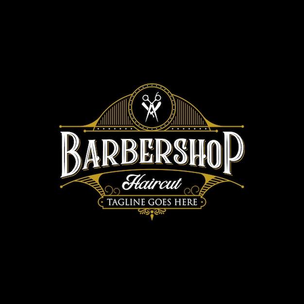 Diseño de logotipo vintage de peluquería. ilustración premium de letras vintage sobre fondo oscuro. Vector Premium