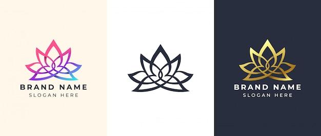 Diseño de logotipo de yoga de arte lineal Vector Premium