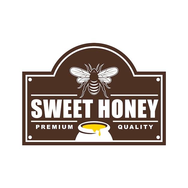 Diseño de logotipos, insignias, banners, anuncios en redes sociales y etiquetas para productos de miel. Vector Premium