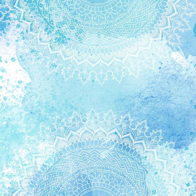 Diseño de mandala decorativo sobre una textura de acuarela vector gratuito