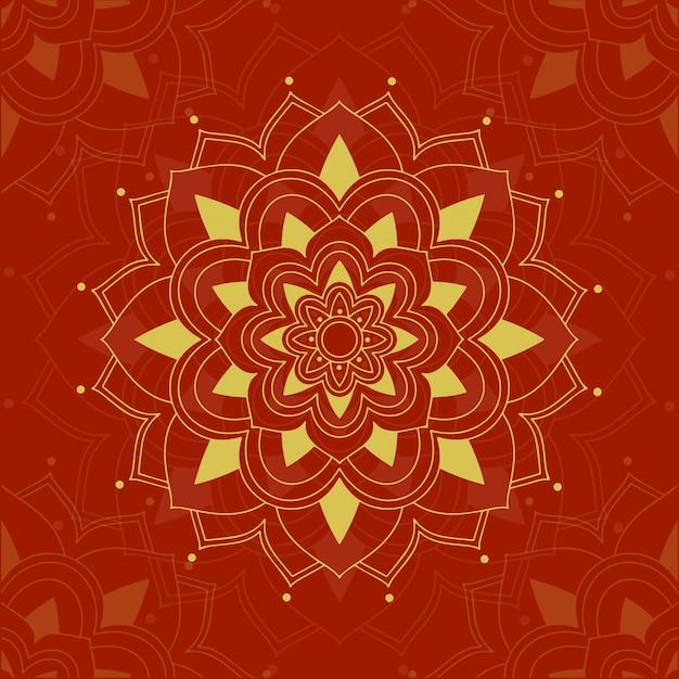 Diseño de mandala en rojo vector gratuito