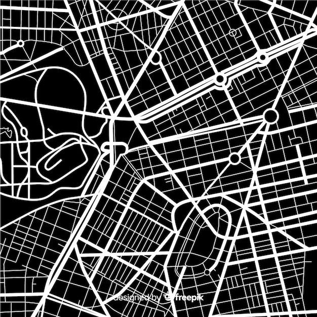 Diseño de mapa de la ciudad en blanco y negro vector gratuito