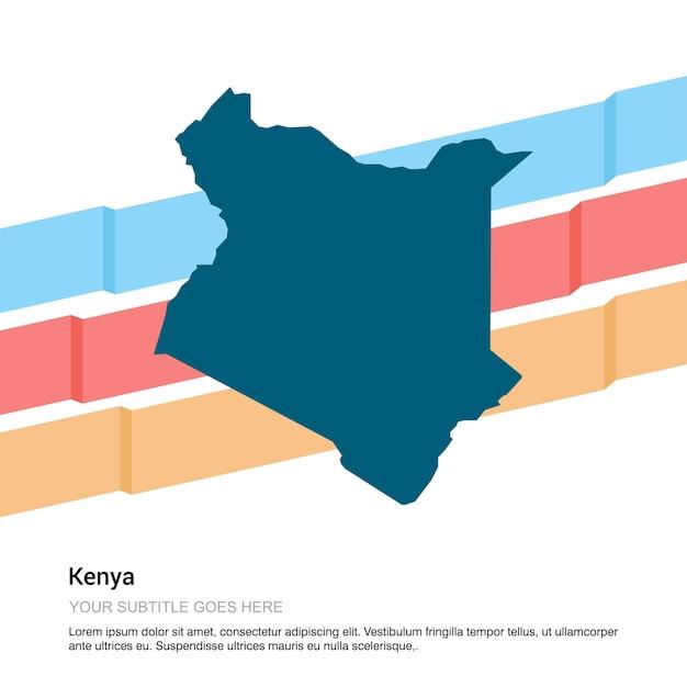 Diseño de mapa de kenia con vector de fondo blanco vector gratuito