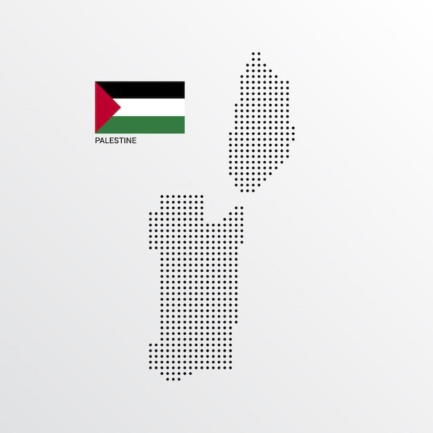 Diseño de mapa de palestina con bandera y vector de fondo claro vector gratuito