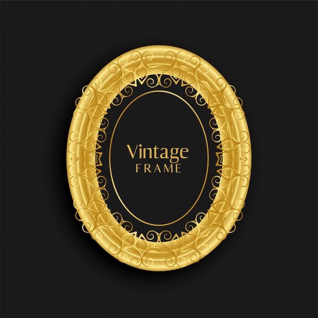 Diseño de marco antiguo de oro vintage de lujo vector gratuito