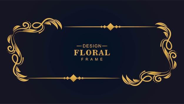 Diseño de marco artístico floral dorado vector gratuito