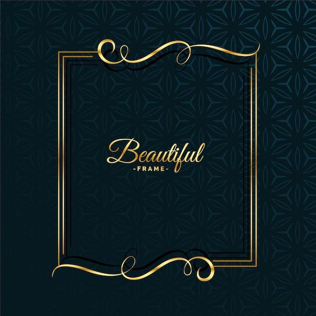 Diseño de marco atractivo floral dorado vector gratuito