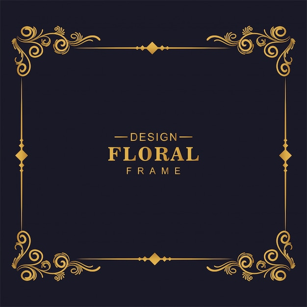 Diseño de marco de esquina floral artístico decorativo vector gratuito