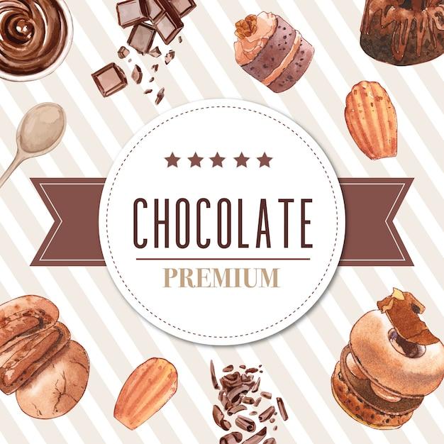 Diseño de marco de postre con barra de chocolate, galleta, donut, pastel ilustración acuarela. vector gratuito