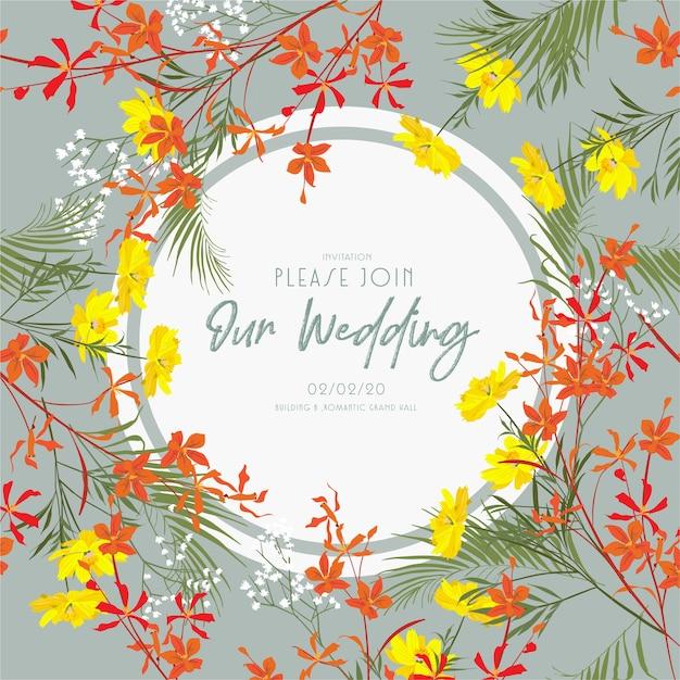 Diseño de marco de tarjeta de invitación de boda con flores de jardín y prado. Vector Premium