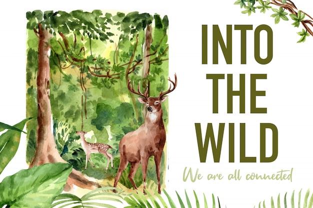 Diseño de marco de zoológico con árbol, ilustración acuarela de ciervos. vector gratuito