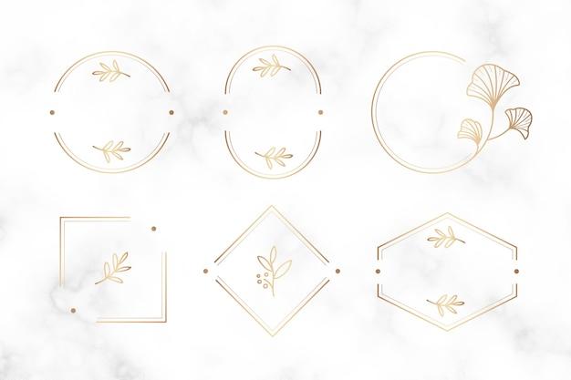 Diseño de marcos botánicos mínimos. vector gratuito