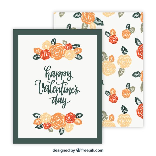 Diseño de marcos para el día de san valentin con rosas y hojas ...