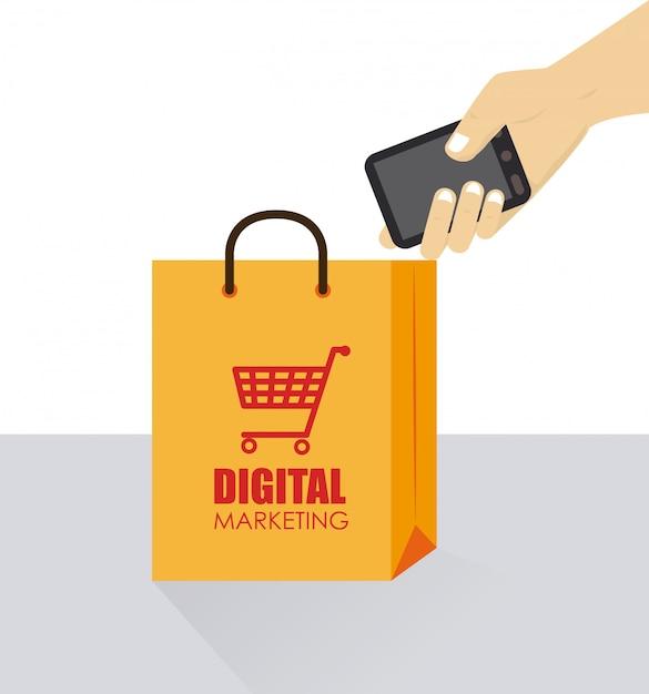 Diseño de marketing sobre fondo blanco ilustración vectorial Vector Premium