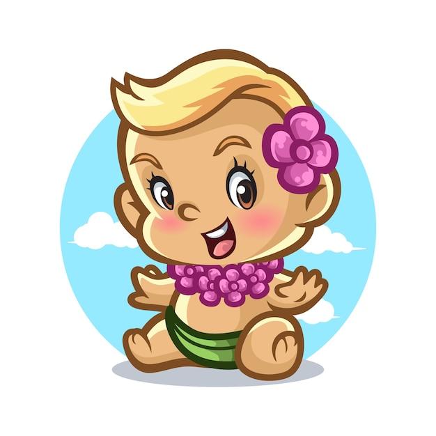 39034843c Diseño de mascota bebé hawaiano Vector Premium